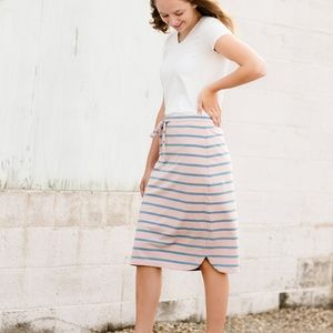 Inherit Modest Drawstring  Midi Below Knee Skirt
